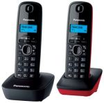 Телефон DECT Panasonic KX-TG1612RU3 (черный+красный, 2 трубки)