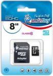 Карта памяти Micro SDHC 8Gb Class 10 Smart Buy (с адаптером SD) SB8GBSDCL10-01